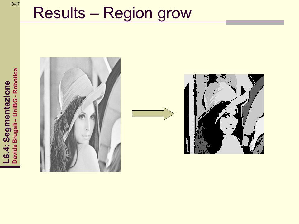 Davide Brugali – UniBG - Robotica L6.4: Segmentazione 18/47 Results – Region grow