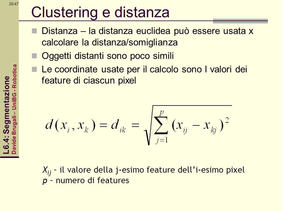 Davide Brugali – UniBG - Robotica L6.4: Segmentazione 26/47 Clustering e distanza Distanza – la distanza euclidea può essere usata x calcolare la dist