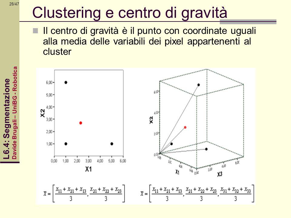 Davide Brugali – UniBG - Robotica L6.4: Segmentazione 28/47 Clustering e centro di gravità Il centro di gravità è il punto con coordinate uguali alla