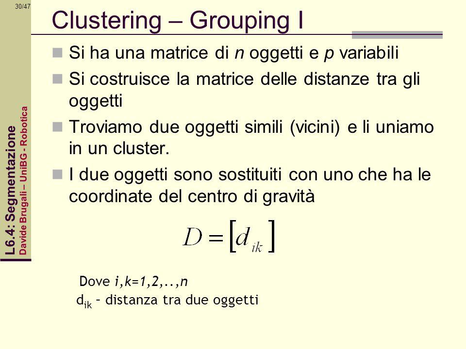 Davide Brugali – UniBG - Robotica L6.4: Segmentazione 30/47 Clustering – Grouping I Si ha una matrice di n oggetti e p variabili Si costruisce la matr