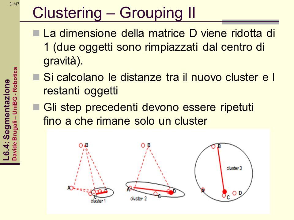 Davide Brugali – UniBG - Robotica L6.4: Segmentazione 31/47 Clustering – Grouping II La dimensione della matrice D viene ridotta di 1 (due oggetti son