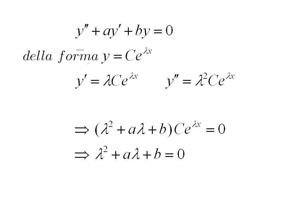 Equazioni del 2. ordine omogenee a coeff. costanti Hanno la forma Ricordiamo che la soluzione dellequazione e Pertanto cerchiamo le soluzioni sempre s