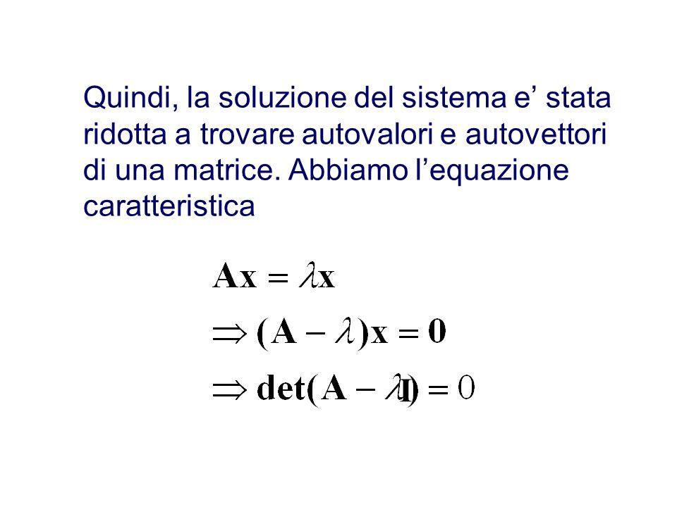 Quindi, la soluzione del sistema e stata ridotta a trovare autovalori e autovettori di una matrice.