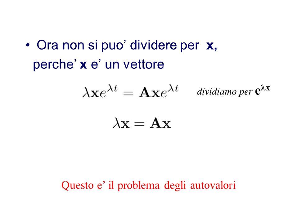 Strategia di soluzione Come nel caso di una singola equazione supponiamo la soluzione sia del tipo esponenziale x vettore Risolvo y=Ay y=xe t x e t =A