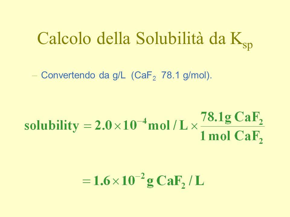 Calcolo della Solubilità da K sp –Convertendo da g/L (CaF 2 78.1 g/mol).
