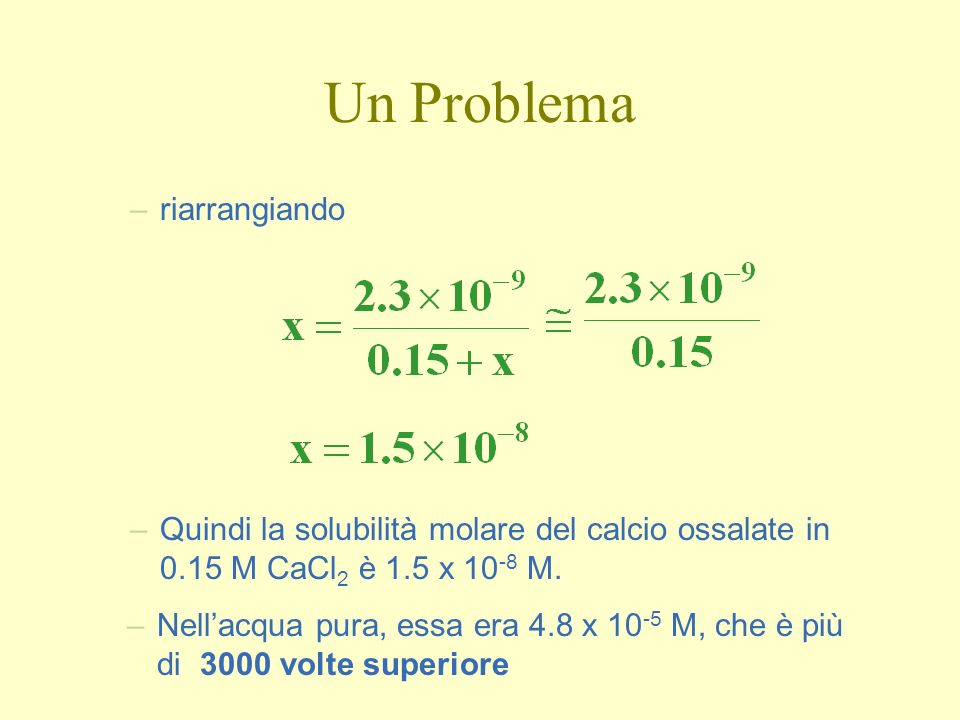Un Problema –riarrangiando –Quindi la solubilità molare del calcio ossalate in 0.15 M CaCl 2 è 1.5 x 10 -8 M.