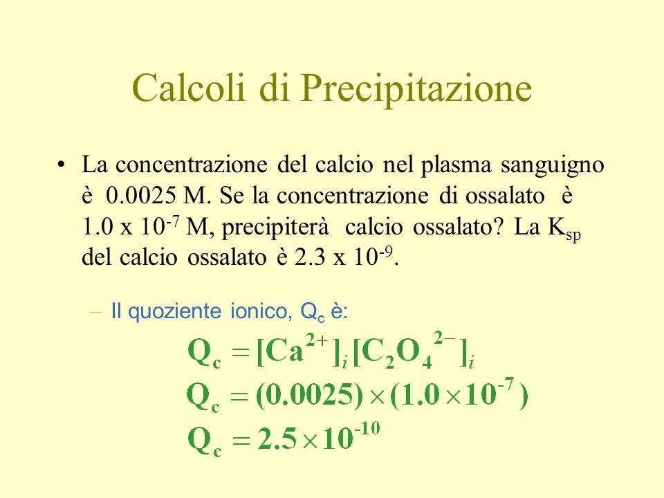 Calcoli di Precipitazione La concentrazione del calcio nel plasma sanguigno è 0.0025 M.