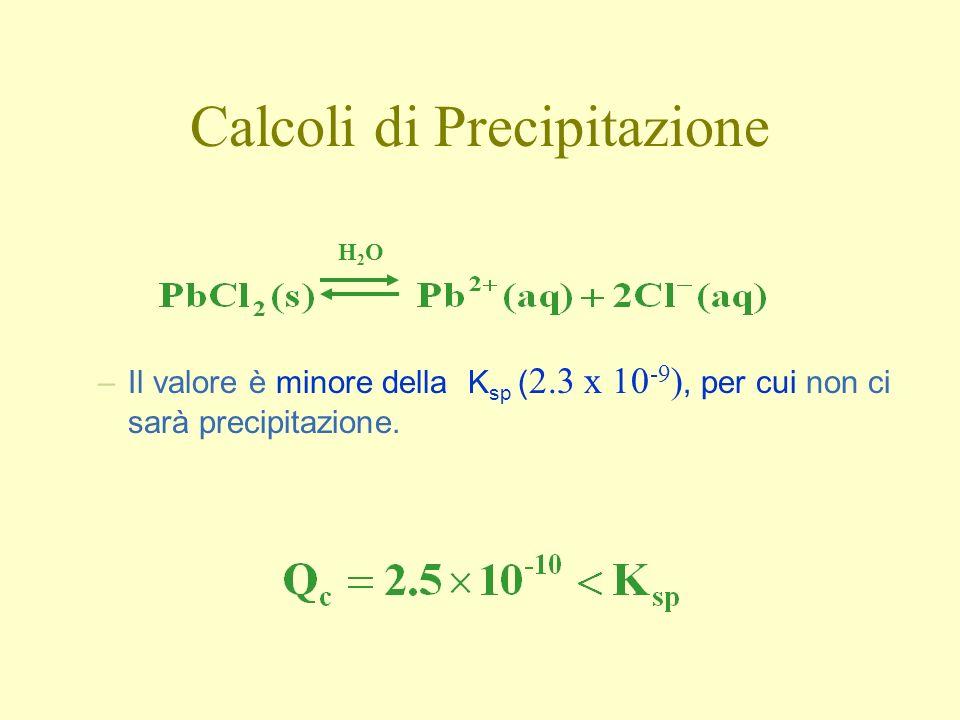 –Il valore è minore della K sp ( 2.3 x 10 -9 ), per cui non ci sarà precipitazione.