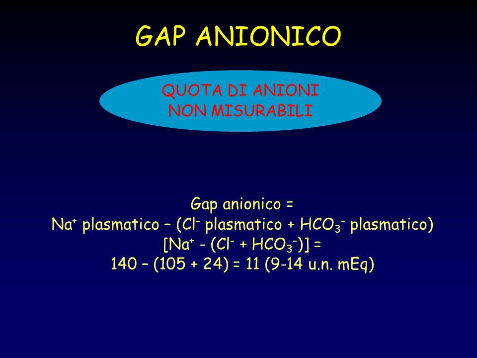 GAP ANIONICO QUOTA DI ANIONI NON MISURABILI Gap anionico = Na + plasmatico – (Cl - plasmatico + HCO 3 - plasmatico) [Na + - (Cl - + HCO 3 - )] = 140 –