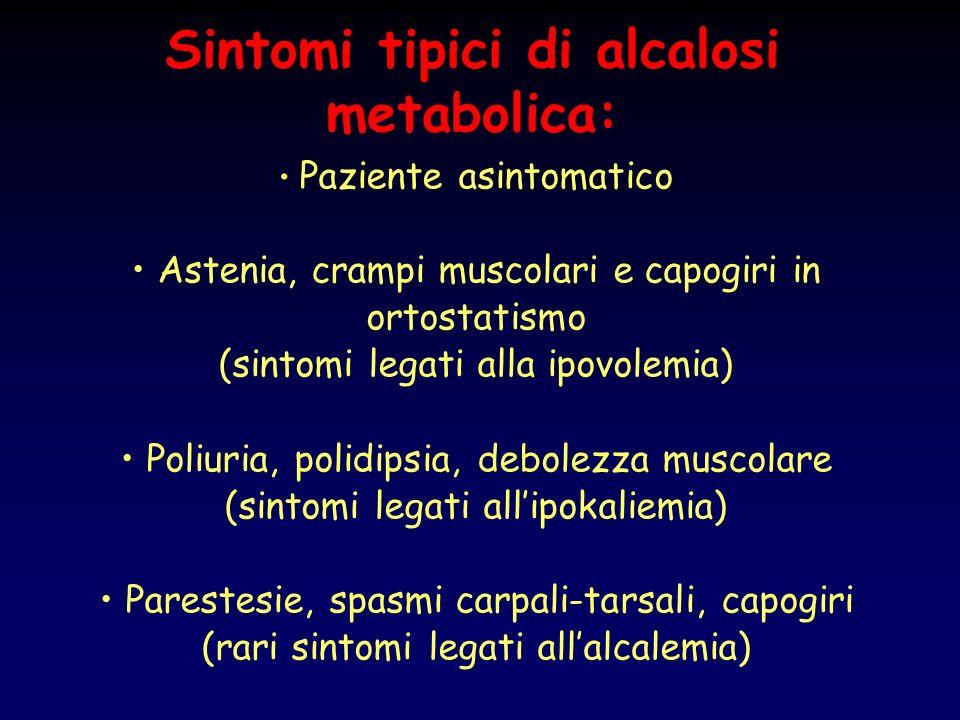 Sintomi tipici di alcalosi metabolica: Paziente asintomatico Astenia, crampi muscolari e capogiri in ortostatismo (sintomi legati alla ipovolemia) Pol