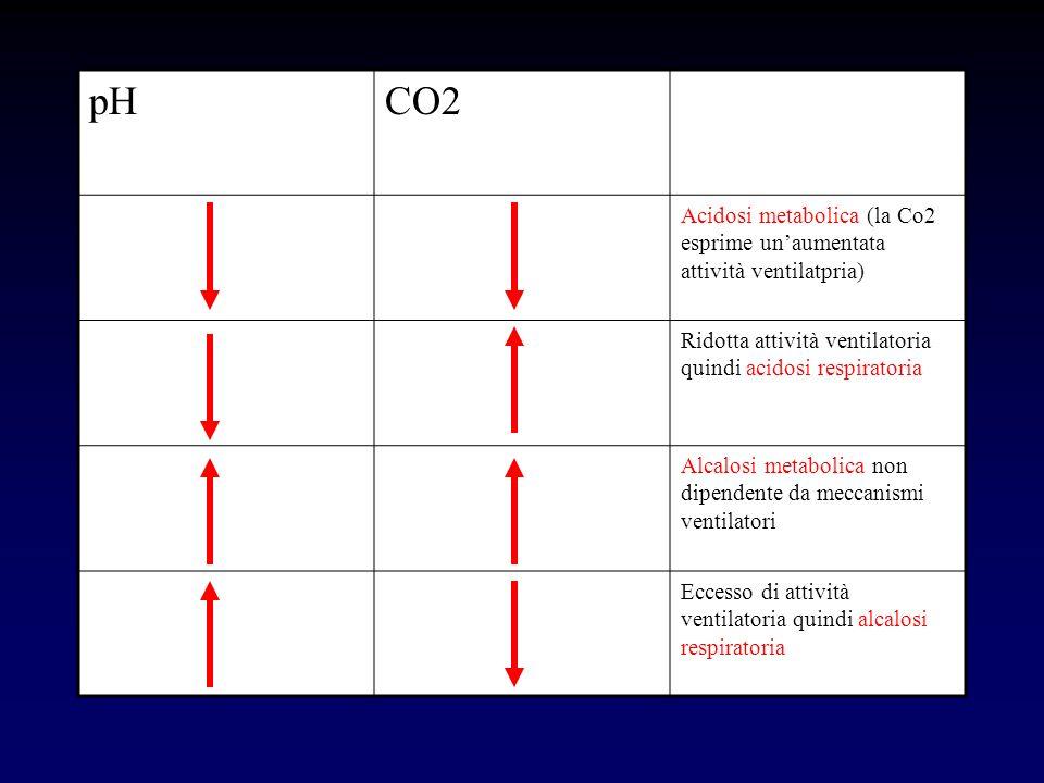 pHCO2 Acidosi metabolica (la Co2 esprime unaumentata attività ventilatpria) Ridotta attività ventilatoria quindi acidosi respiratoria Alcalosi metabol