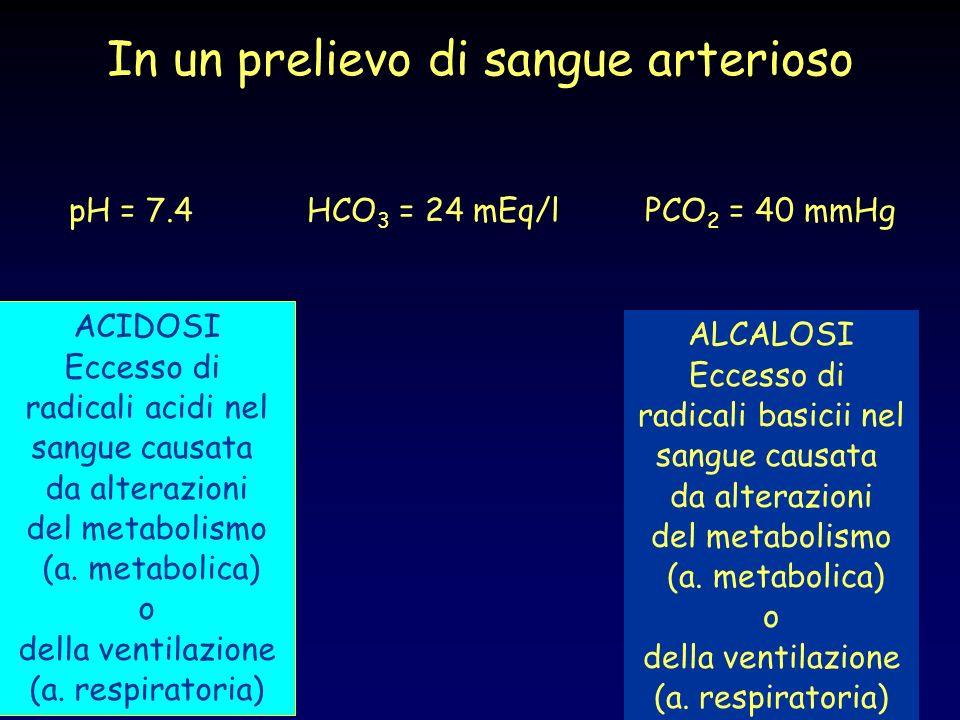 In un prelievo di sangue arterioso pH = 7.4 HCO 3 = 24 mEq/l PCO 2 = 40 mmHg ACIDOSI Eccesso di radicali acidi nel sangue causata da alterazioni del m