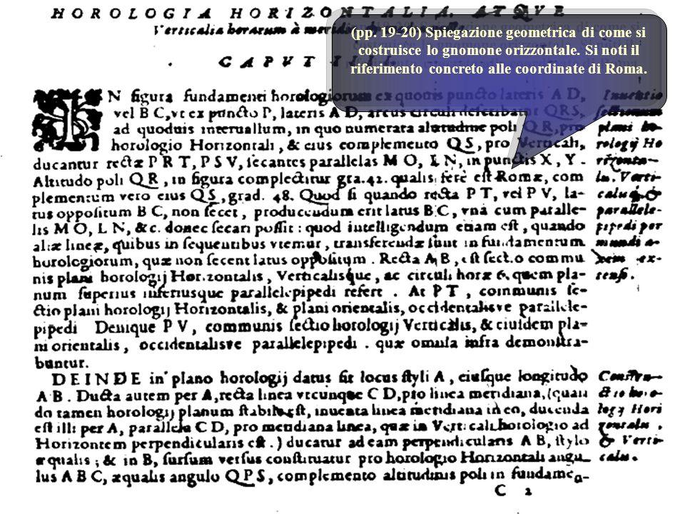 (pp. 19-20) Spiegazione geometrica di come si costruisce lo gnomone orizzontale. Si noti il riferimento concreto alle coordinate di Roma.