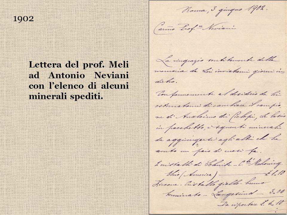 1902 Lettera del prof. Meli ad Antonio Neviani con lelenco di alcuni minerali spediti.