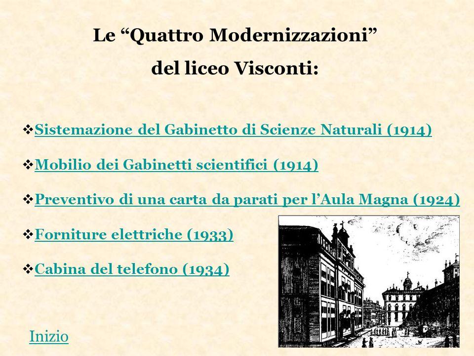 Le Quattro Modernizzazioni del liceo Visconti: Sistemazione del Gabinetto di Scienze Naturali (1914) Mobilio dei Gabinetti scientifici (1914) Preventi