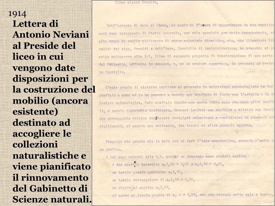 Lettera di Antonio Neviani al Preside del liceo in cui vengono date disposizioni per la costruzione del mobilio (ancora esistente) destinato ad accogl