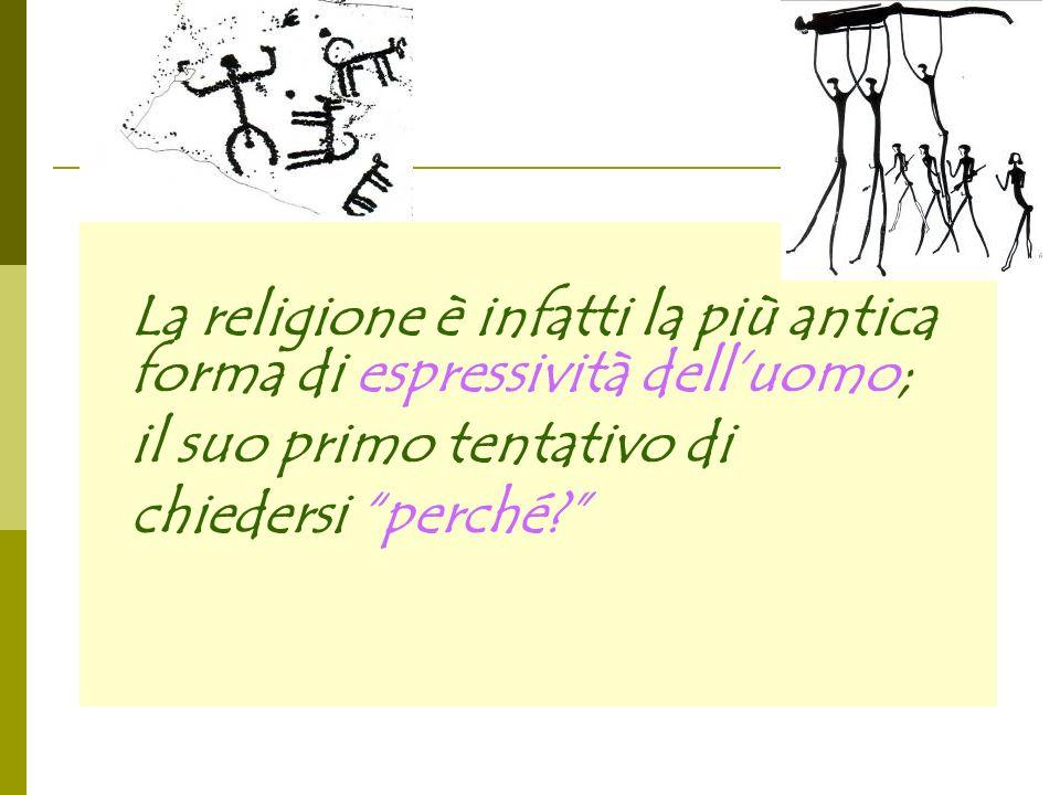 La religione è infatti la più antica forma di espressività delluomo; il suo primo tentativo di chiedersi perché?