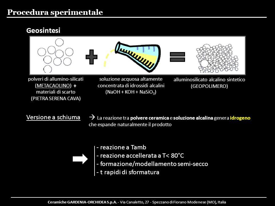 Ceramiche GARDENIA-ORCHIDEA S.p.A. - Via Canaletto, 27 - Spezzano di Fiorano Modenese (MO), Italia Procedura sperimentale polveri di allumino-silicati