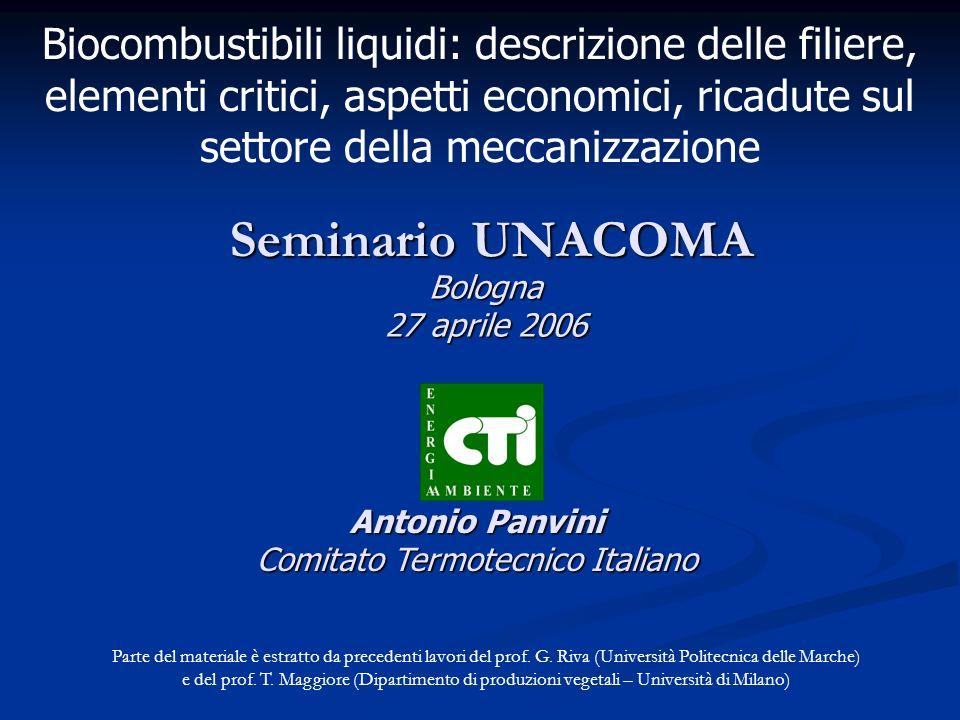 Seminario UNACOMA Antonio Panvini Comitato Termotecnico Italiano Biocombustibili liquidi: descrizione delle filiere, elementi critici, aspetti economi