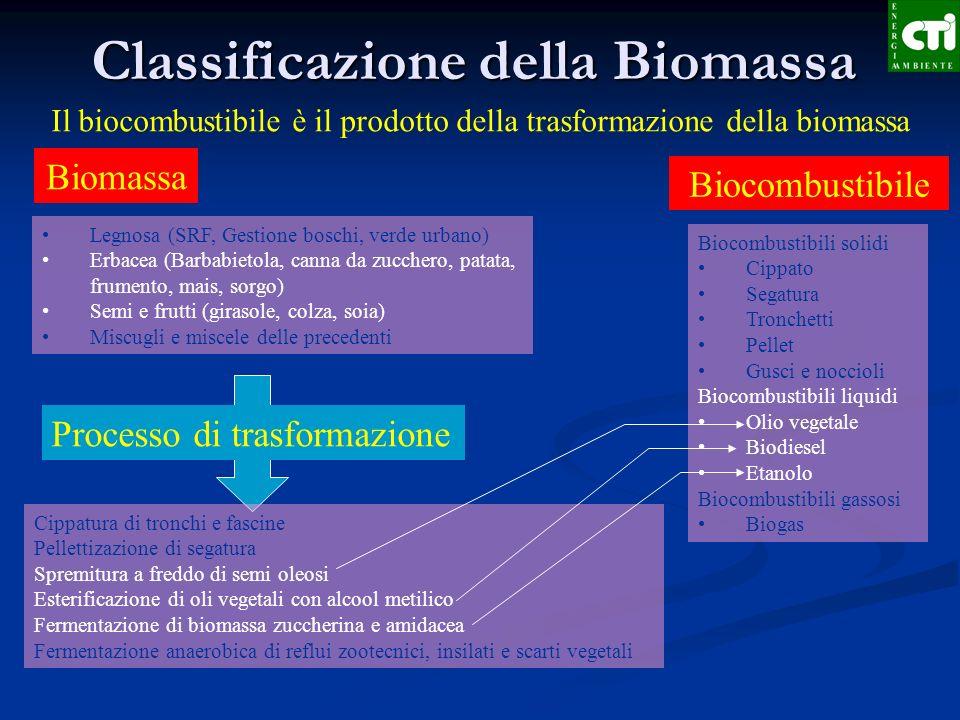 Classificazione della Biomassa Biomassa Biocombustibile Il biocombustibile è il prodotto della trasformazione della biomassa Legnosa (SRF, Gestione bo