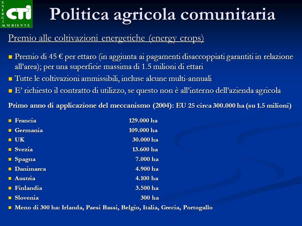 Politica agricola comunitaria Premio alle coltivazioni energetiche (energy crops) Premio di 45 per ettaro (in aggiunta ai pagamenti disaccoppiati gara