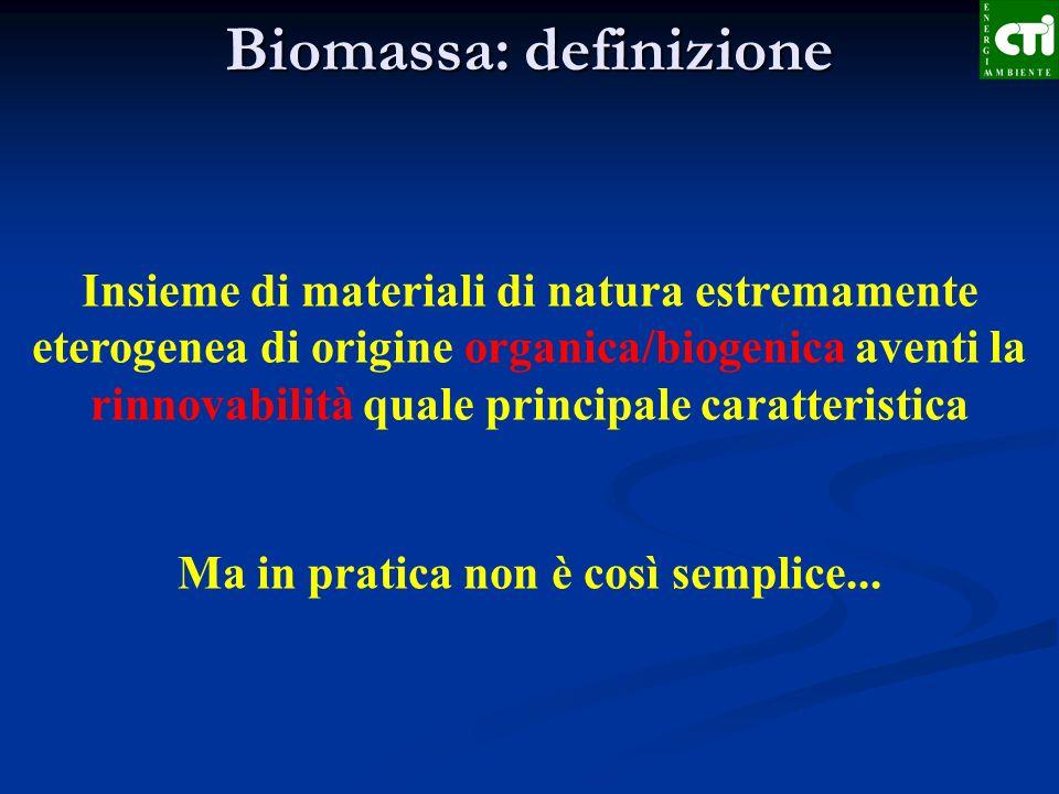 Biomassa: definizione Insieme di materiali di natura estremamente eterogenea di origine organica/biogenica aventi la rinnovabilità quale principale ca