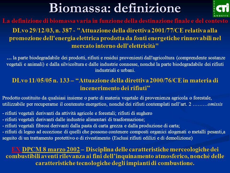 Biomassa: definizione La definizione di biomassa varia in funzione della destinazione finale e del contesto DLvo 29/12/03, n. 387 -