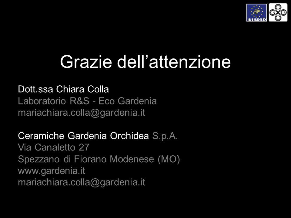 Dott.ssa Chiara Colla Laboratorio R&S - Eco Gardenia mariachiara.colla@gardenia.it Ceramiche Gardenia Orchidea S.p.A. Via Canaletto 27 Spezzano di Fio