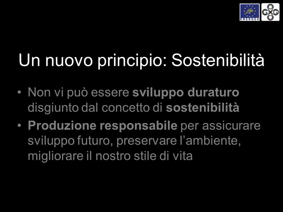 Un nuovo principio: Sostenibilità Non vi può essere sviluppo duraturo disgiunto dal concetto di sostenibilità Produzione responsabile per assicurare s