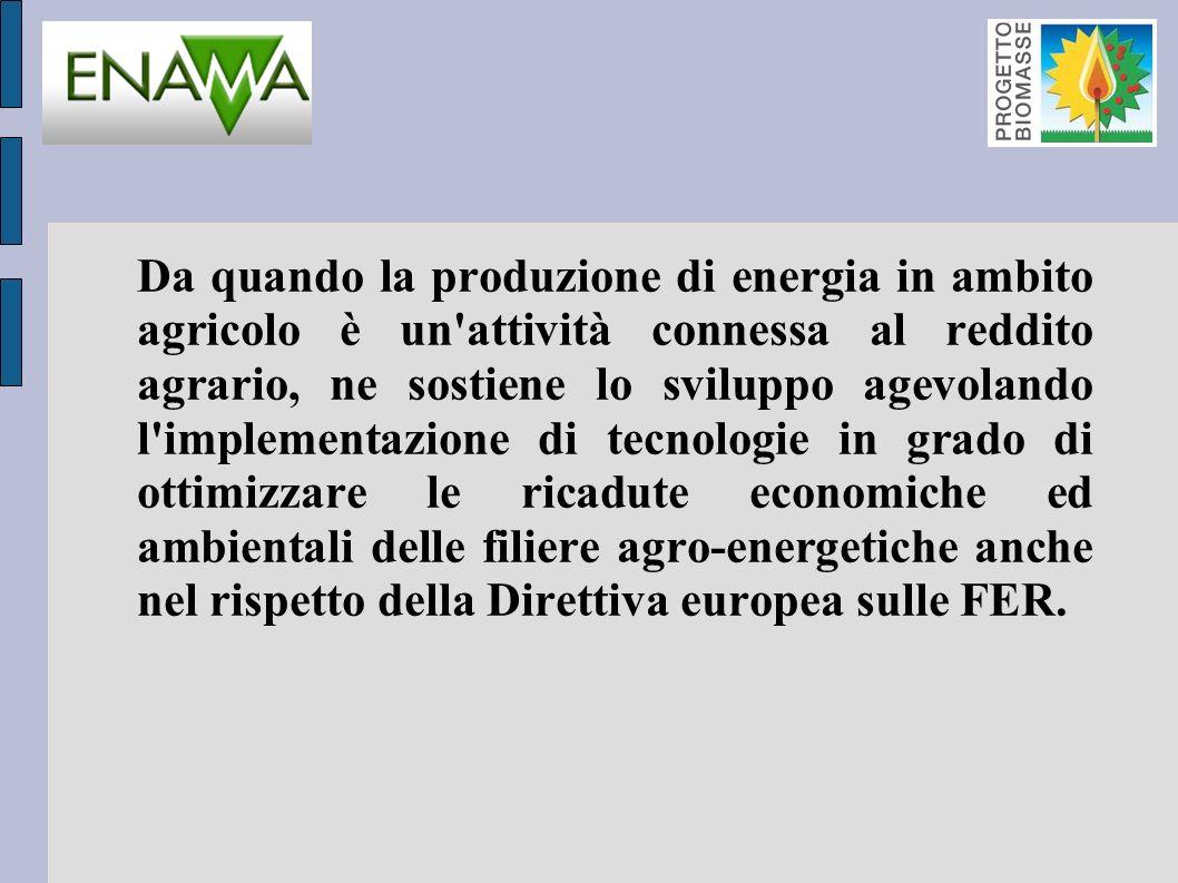 Da quando la produzione di energia in ambito agricolo è un attività connessa al reddito agrario, ne sostiene lo sviluppo agevolando l implementazione di tecnologie in grado di ottimizzare le ricadute economiche ed ambientali delle filiere agro-energetiche anche nel rispetto della Direttiva europea sulle FER.