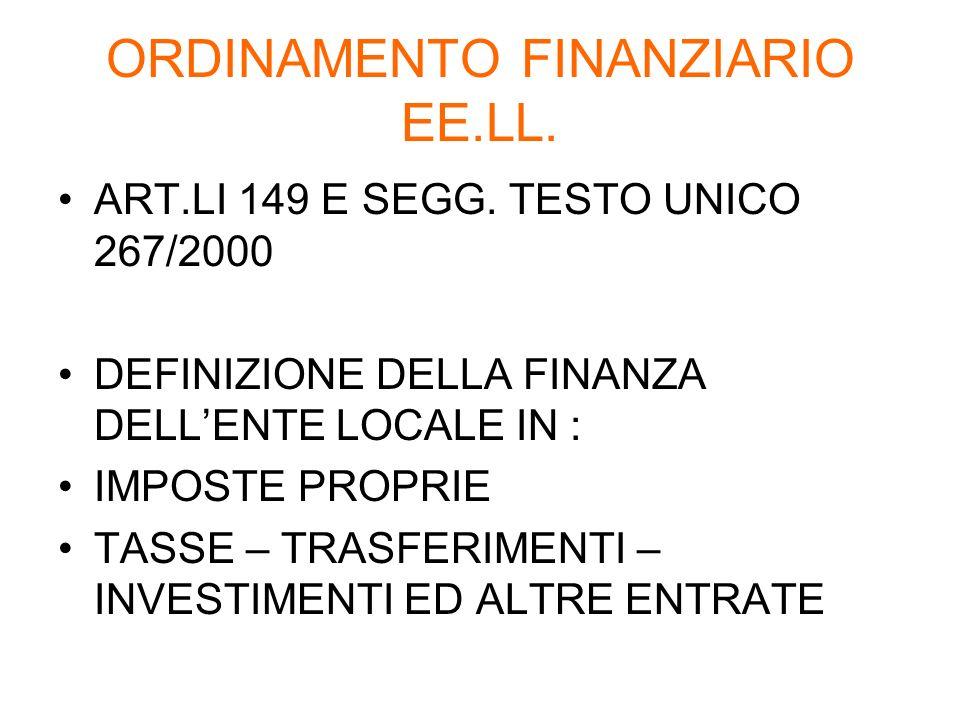 ORDINAMENTO FINANZIARIO EE.LL. ART.LI 149 E SEGG. TESTO UNICO 267/2000 DEFINIZIONE DELLA FINANZA DELLENTE LOCALE IN : IMPOSTE PROPRIE TASSE – TRASFERI
