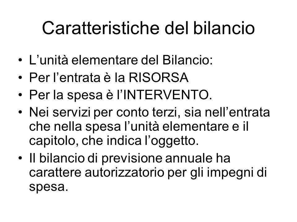 Caratteristiche del bilancio Lunità elementare del Bilancio: Per lentrata è la RISORSA Per la spesa è lINTERVENTO. Nei servizi per conto terzi, sia ne