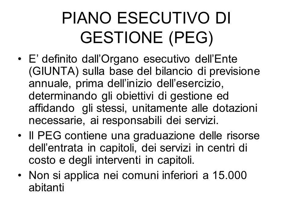 PIANO ESECUTIVO DI GESTIONE (PEG) E definito dallOrgano esecutivo dellEnte (GIUNTA) sulla base del bilancio di previsione annuale, prima dellinizio de
