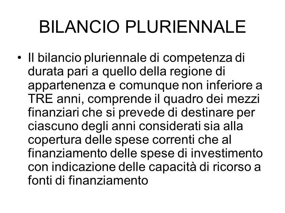 BILANCIO PLURIENNALE Il bilancio pluriennale di competenza di durata pari a quello della regione di appartenenza e comunque non inferiore a TRE anni,
