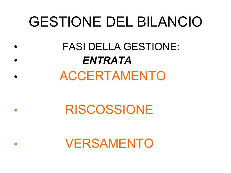 GESTIONE DEL BILANCIO FASI DELLA GESTIONE: ENTRATA ACCERTAMENTO RISCOSSIONE VERSAMENTO