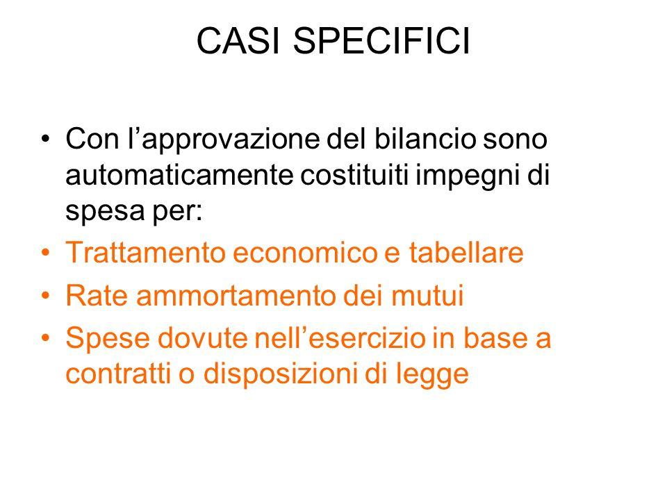 CASI SPECIFICI Con lapprovazione del bilancio sono automaticamente costituiti impegni di spesa per: Trattamento economico e tabellare Rate ammortament