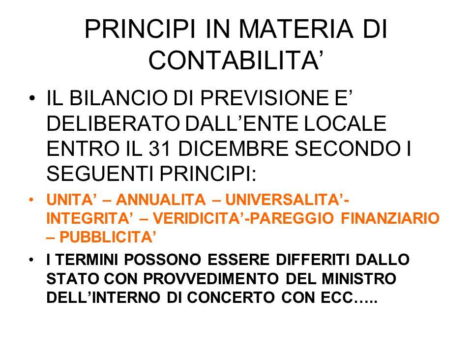 ATTI A CORREDO DEL BILANCIO RELAZIONE PREVISIONALE E PROGRAMMATICA BILANCIO PLURIENNALE ALLEGATI EX ART.