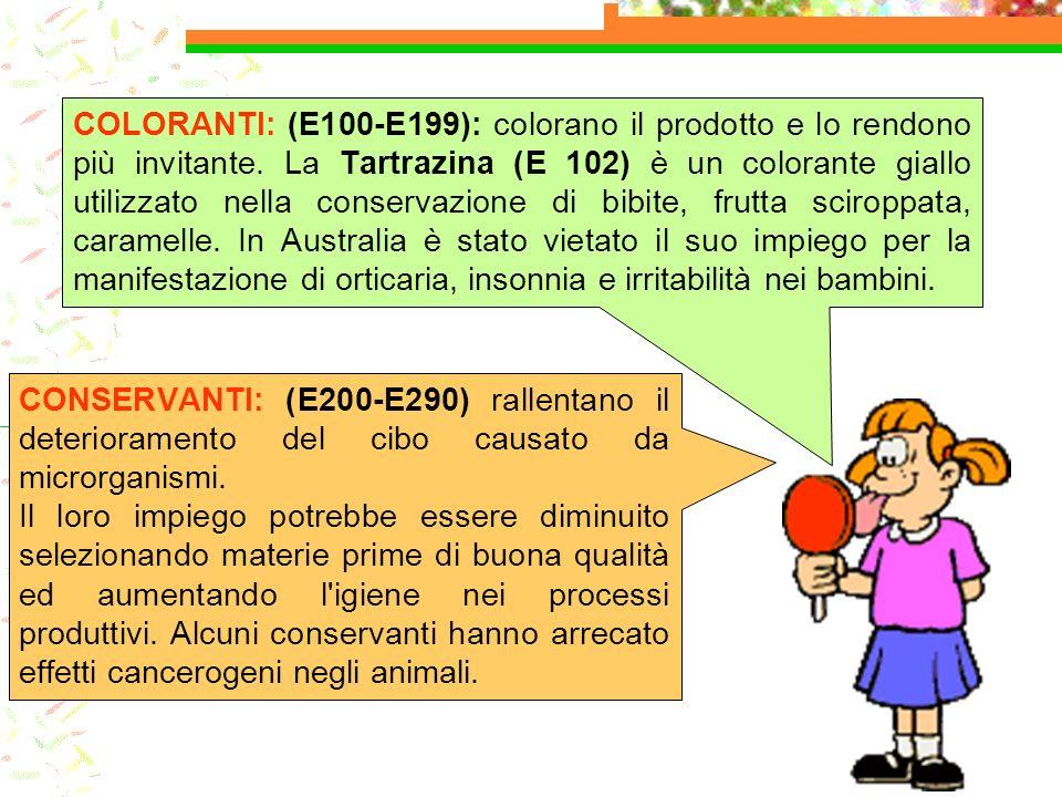 CONSERVANTI: (E200-E290) rallentano il deterioramento del cibo causato da microrganismi. Il loro impiego potrebbe essere diminuito selezionando materi
