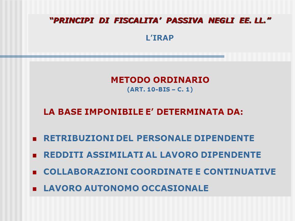 PRINCIPI DI FISCALITA PASSIVA NEGLI EE. LL. PRINCIPI DI FISCALITA PASSIVA NEGLI EE. LL. LIRAP METODO ORDINARIO (ART. 10-BIS – C. 1) LA BASE IMPONIBILE