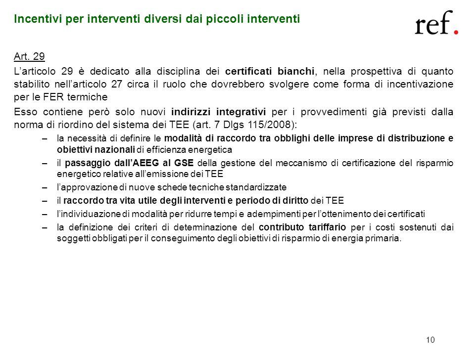 10 Incentivi per interventi diversi dai piccoli interventi Art. 29 Larticolo 29 è dedicato alla disciplina dei certificati bianchi, nella prospettiva