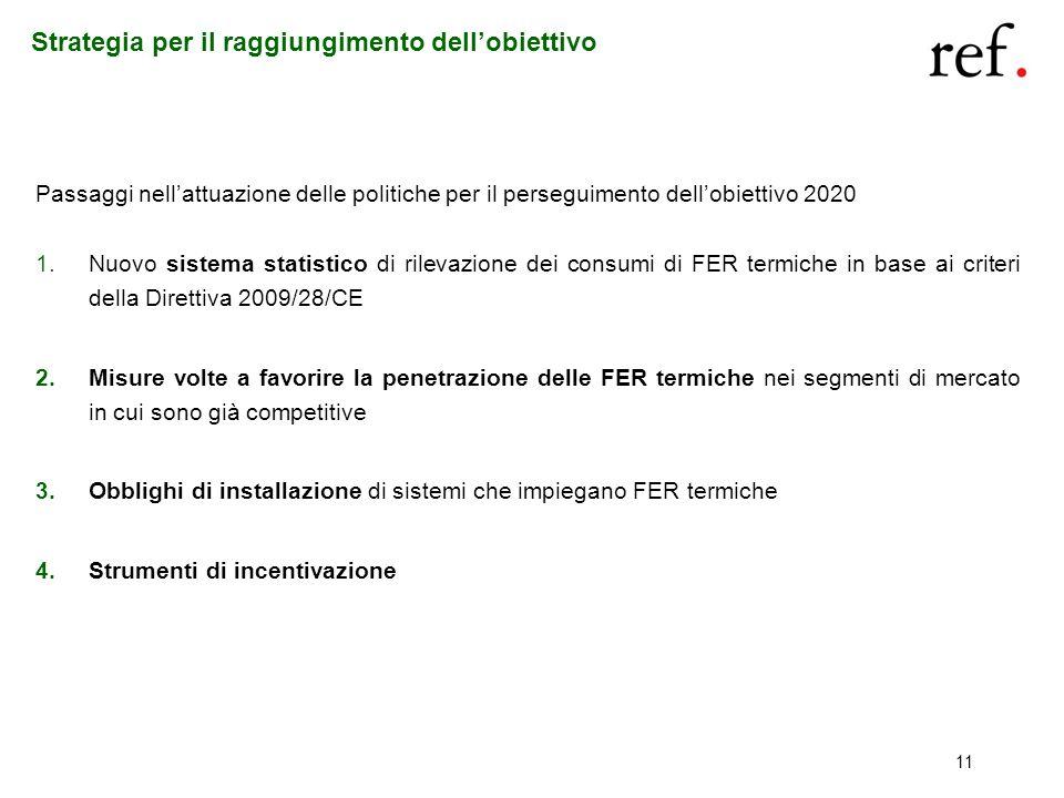 11 Strategia per il raggiungimento dellobiettivo Passaggi nellattuazione delle politiche per il perseguimento dellobiettivo 2020 1.Nuovo sistema stati