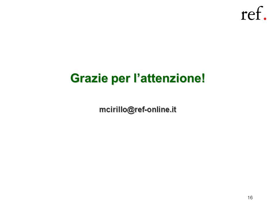16 Grazie per lattenzione! mcirillo@ref-online.it