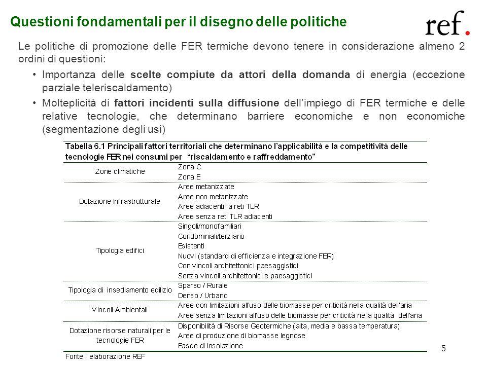 5 Questioni fondamentali per il disegno delle politiche Le politiche di promozione delle FER termiche devono tenere in considerazione almeno 2 ordini