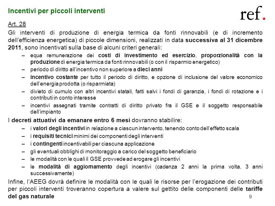 9 Incentivi per piccoli interventi Art. 28 Gli interventi di produzione di energia termica da fonti rinnovabili (e di incremento dellefficienza energe