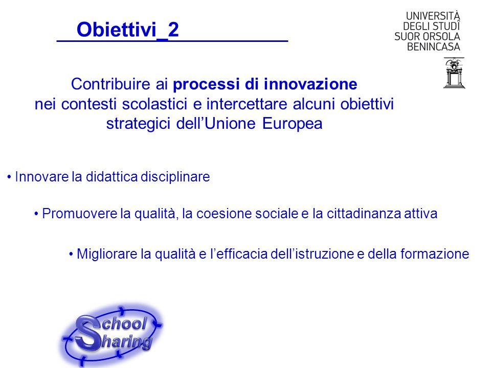 Obiettivi_2 Promuovere la qualità, la coesione sociale e la cittadinanza attiva Contribuire ai processi di innovazione nei contesti scolastici e inter