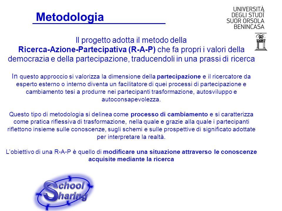 Metodologia ll progetto adotta il metodo della Ricerca-Azione-Partecipativa (R-A-P) che fa propri i valori della democrazia e della partecipazione, tr