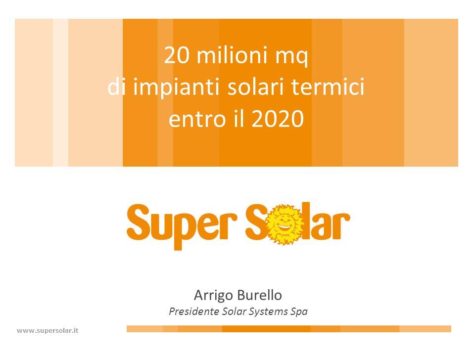 www.supersolar.it 20 milioni mq di impianti solari termici entro il 2020 Arrigo Burello Presidente Solar Systems Spa