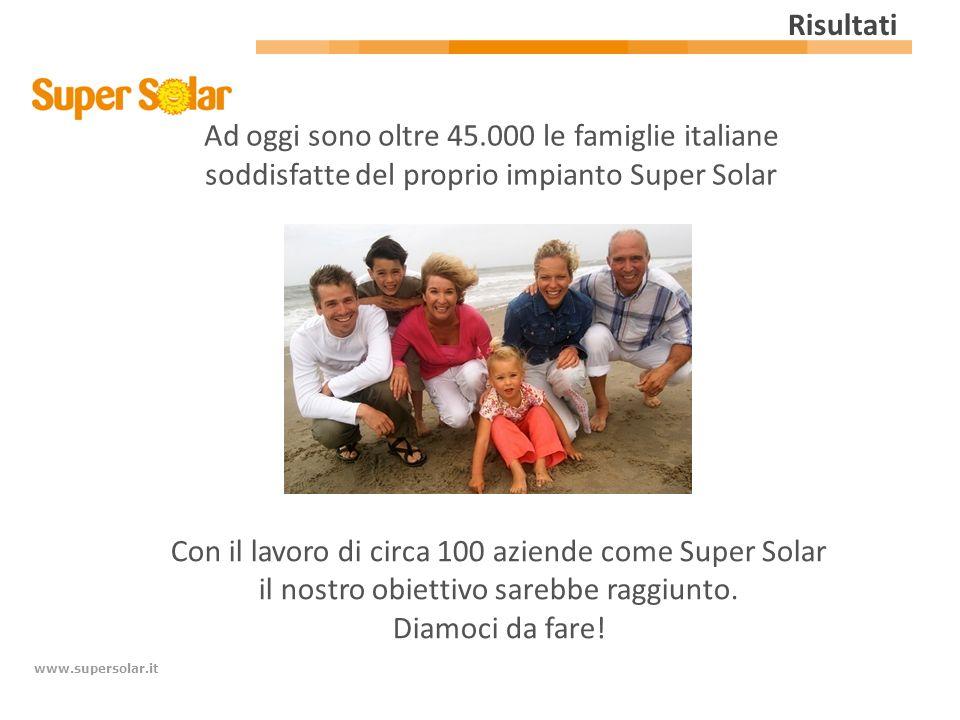 www.supersolar.it Risultati Ad oggi sono oltre 45.000 le famiglie italiane soddisfatte del proprio impianto Super Solar Con il lavoro di circa 100 azi