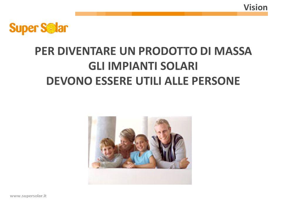 www.supersolar.it PER DIVENTARE UN PRODOTTO DI MASSA GLI IMPIANTI SOLARI DEVONO ESSERE UTILI ALLE PERSONE Vision
