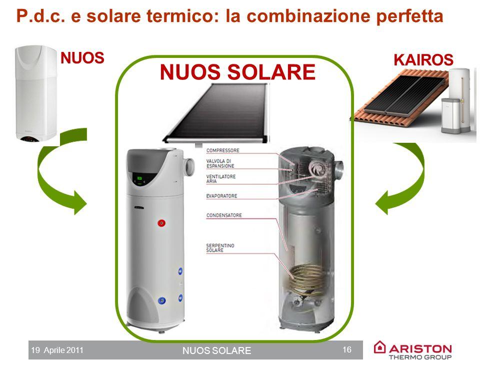 19 Aprile 2011 NUOS SOLARE 15 Agenda 1.Ariston Thermo Group 2.Limportanza dellacqua calda 3.Pompa di calore + Solare termico: la combinazione perfetta